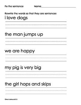 Fix the Sentences Worksheet image 3 practice for J ...