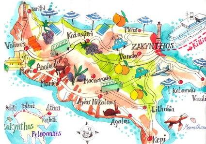 Map of Zakynthos Island, Greece. Illustration by Isabelle Dinter.