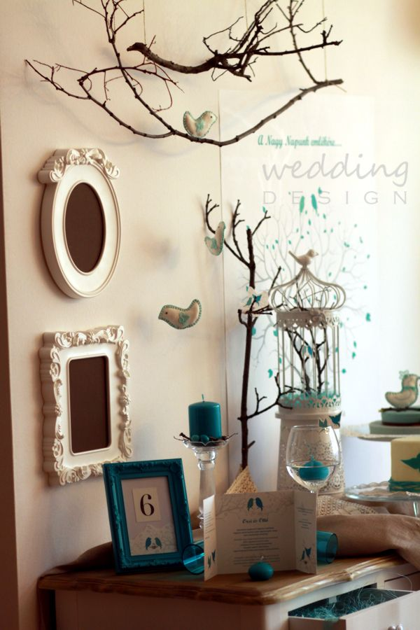 Nature-blue wedding concepcio with birds, at Wedding Design Studio - Natúr-türkiz esküvői koncepció a Wedding Design bemutatótermében