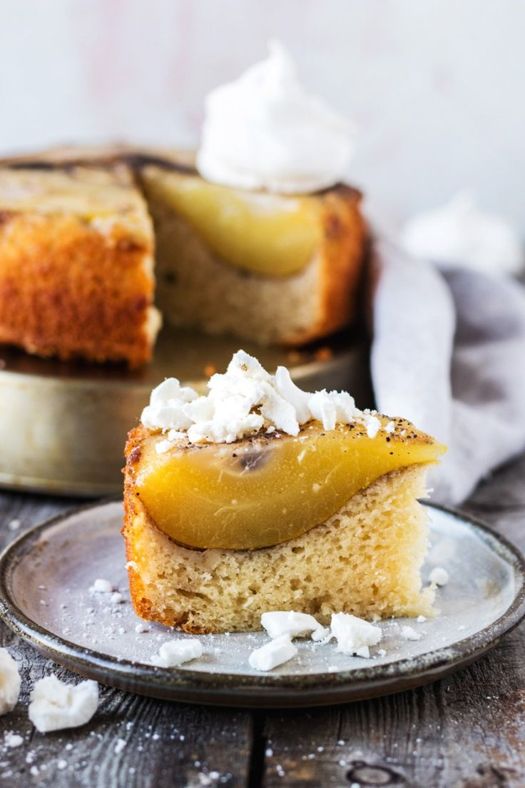 This vegan cardamom pear upside-down cake recipe is the perfect balance of sweet but not too sweet, light and fluffy but moist at the same time. And then there are the poached cardamom pear halves which are beautifully tender and juicy. | www.myvibrantkitchen.com