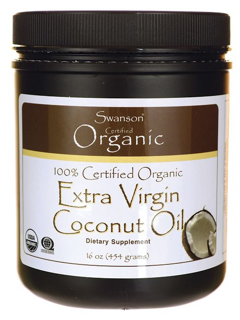 Swanson Organic Certified 100% Organic Extra Virgin Coconut Oil 16 oz (454 grams) Solid Oil
