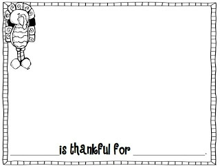 Thanksgiving writing Freebie...____ is thankful for _____.