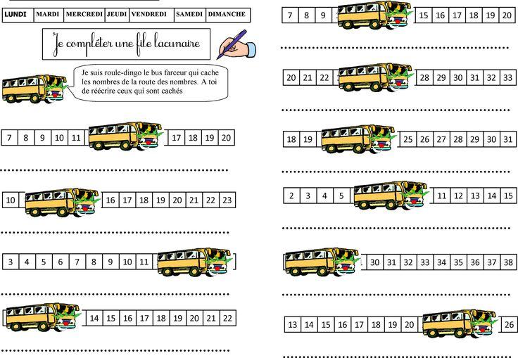 Jeu de tableau ROULE DINGO le bus farceur cache des nombres sur la file numérique. A vos élèves d'écrire les 5 nombres cachés   Voici les exercices!
