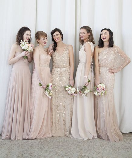 5 bridesmaids wearing dresses from BHLDN | Stylists Anne White and Caroline Dilsheimer, two of the most-trusted pros behind go-to wedding boutique BHLDN, share their favorite secrets and tricks to pulling off the big day in style.
