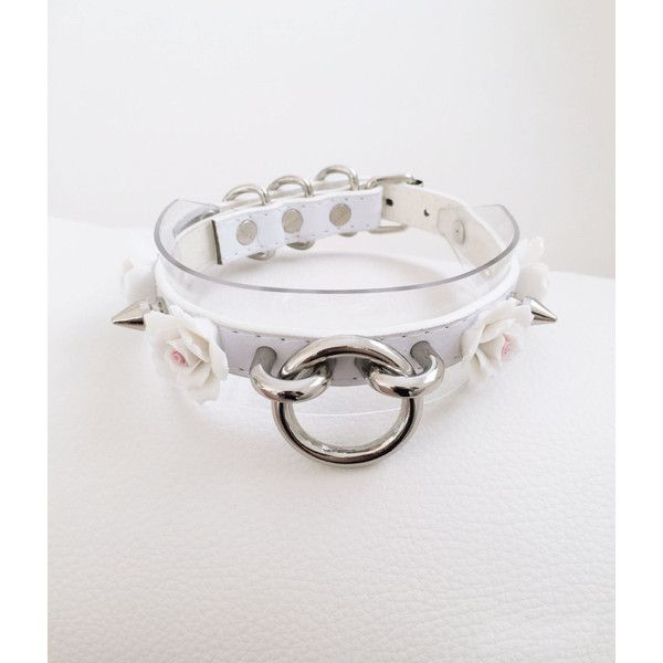 White Transparent Spike Choker Pastel Goth Choker Kitten Play Collar (81 BRL) ❤ liked on Polyvore featuring jewelry, necklaces, white necklace, goth necklace, goth choker, white flower necklace and flower choker necklace