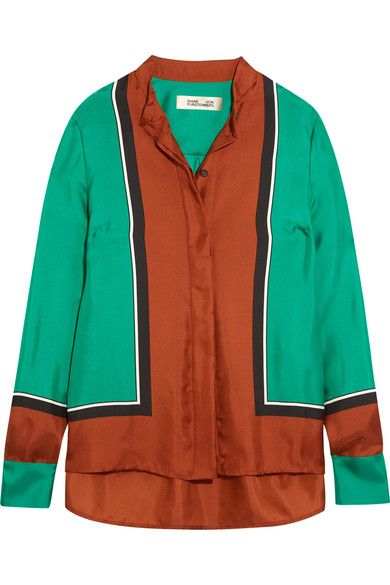 Diane von Furstenberg - Color-block Silk-satin Shirt - Orange - US