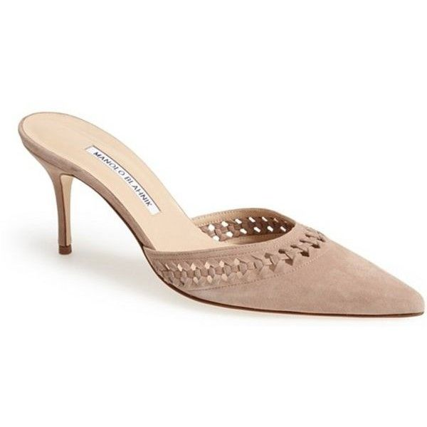 Pre-Owned Manolo Blahnik Perforated Pointy Toe Mule Suede Beige Brown... (€410) ❤ liked on Polyvore featuring shoes, pumps, neutral, brown suede pumps, high heel pumps, high heel mules, pointed toe high heel pumps and beige pointed toe pumps