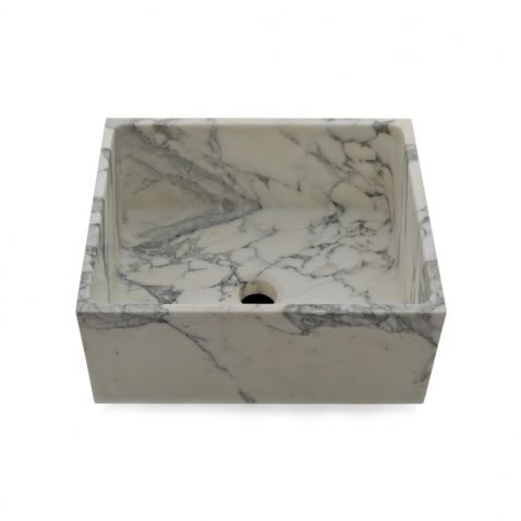 R.W. Atlas Stone Apron Bar Sink with Center Drain | Arabescato