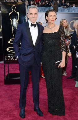 "Lead actor nominee Daniel Day-Lewis (""Lincoln"") and wife Rebecca Miller on the red carpet."