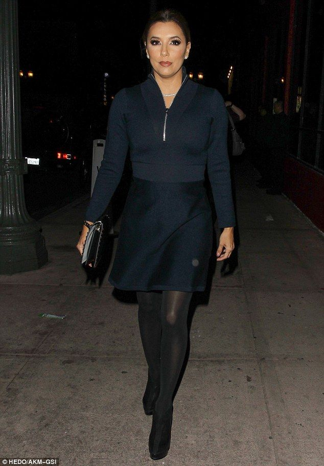 Date night: Eva Longoria headed out to dinner in a long-sleeve sweater and tights in Los Angeles on Saturday joined by husband, Jose Bastón, and mom, Ella