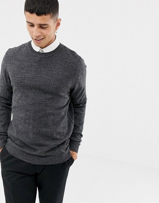 0d22ea373b80 DESIGN knitted crew neck sweater in charcoal in 2019 | Sean☁ | Crew neck,  Men sweater, Sweaters