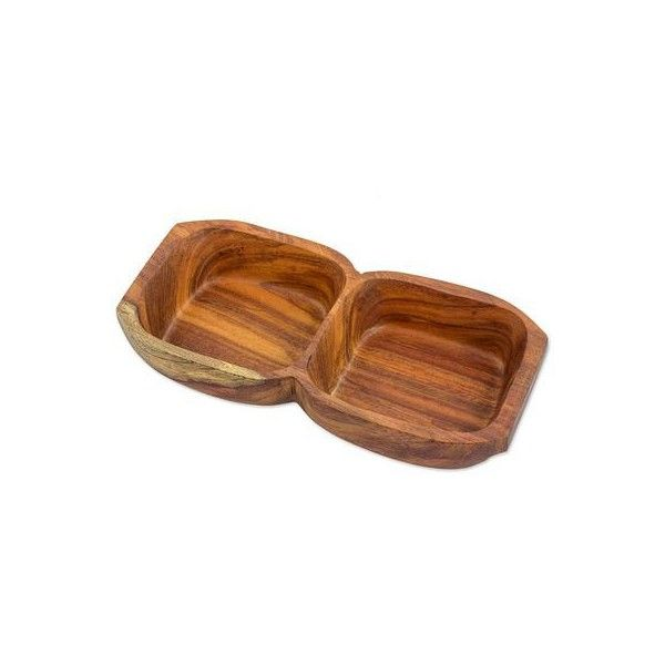 NOVICA Hand Crafted Jatoba Wood Double Sided Salsa Bowl ($50) ❤ liked on Polyvore featuring home, kitchen & dining, serveware, brown, condiments, homedecor, tableware & entertaining, brown bowl, wooden serveware and condiment bowl