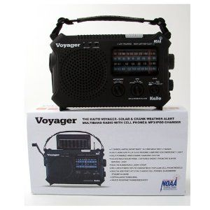 KAITO KA500 VOYAGER - SOLAR & CRANK WEATHER ALERT MULTIBAND RADIO w/ CELL PHONE & MP3/IPOD CHARGER & FREE AC ADAPTER by Kaito. $59.99. WOW is all we can say - one of the best solar/ dynamo radios we have seen.  Listed are some of the features:  - 11 Bands: AM/FM, Shortwave 1&2 and 7 Weather Bands.- NOAA Weather Alert sends an Emergency Wireless Signal to the radio for local weather disasters.- LED Flashlight plus 5 LED Reading Lamp.- 4 Way Power - Dynamo hand charging (no bat...
