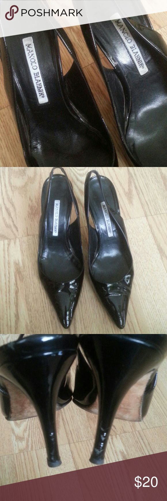 """Authentic Manolo Blahnik  4""""heel Pre owned,,  flaw on the both of the  tips, but not so visible while you walk, scuff on the heels pic #4, please make shure before u  decide , you are ok with those issues,, I am listing them only for someone who wants to buy something  designed for cheap, , price will reflects the issue! Price to buy Manolo Blahnik Shoes Heels"""