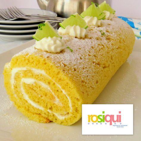 Brazo de gitano/tronco/rollo de limón. Lemon roll cake.