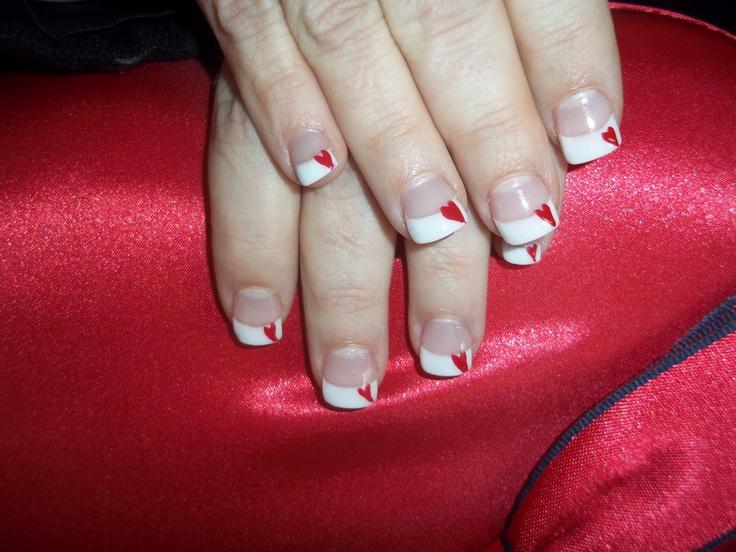 <3Nails Art, Valentine Day, Nails Design, Pretty Nails, Valentine Nails, French Nails, Minis Heart, Painting Nails, Nails Valentine
