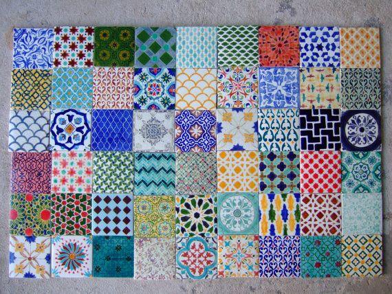 Handpainted Morrocan Tile Splashback - Set of 54 mixed bohemian designs on Etsy, $270.00