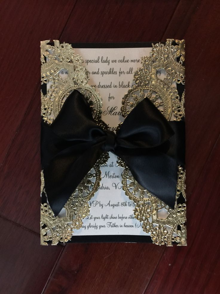Black and gold doilies invitation by itsmydelight.com