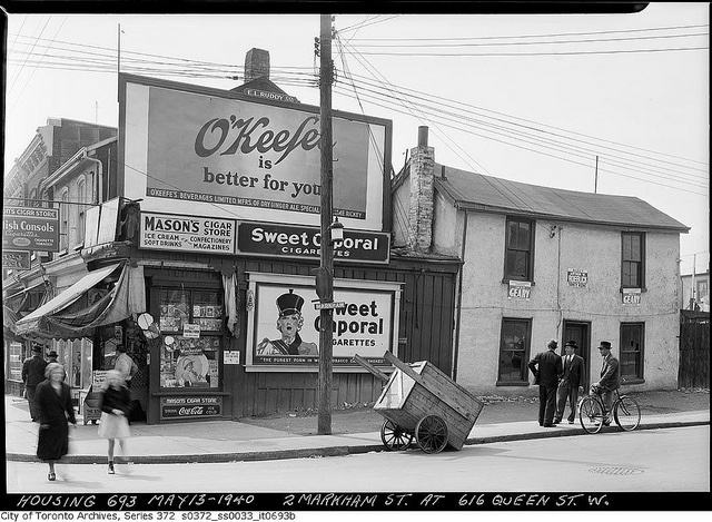 Corner of Markham and Queen Street, Toronto, May 13, 1940