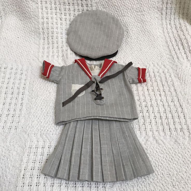 One of A Kind Gray Red Sailor Outfit for Bleuette Doll by Bluebird TextilesSALE | Dolls & Bears, Dolls, Antique (Pre-1930) | eBay!