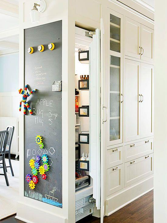Chalkboard panel + fabulous kitchen built-ins