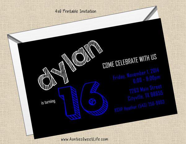 Printable 4x6 Boy Tween Teen Male Adult Birthday