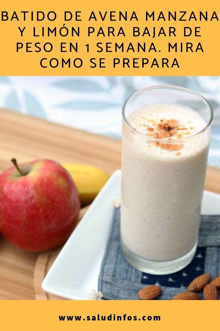 jugo de avena con manzana para adelgazar