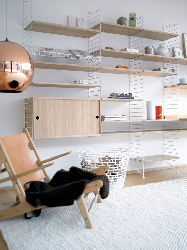 Wall-mounted sectional shelving unit SYSTEM by String Furniture | #design Nils Strinning @stringfurniture: