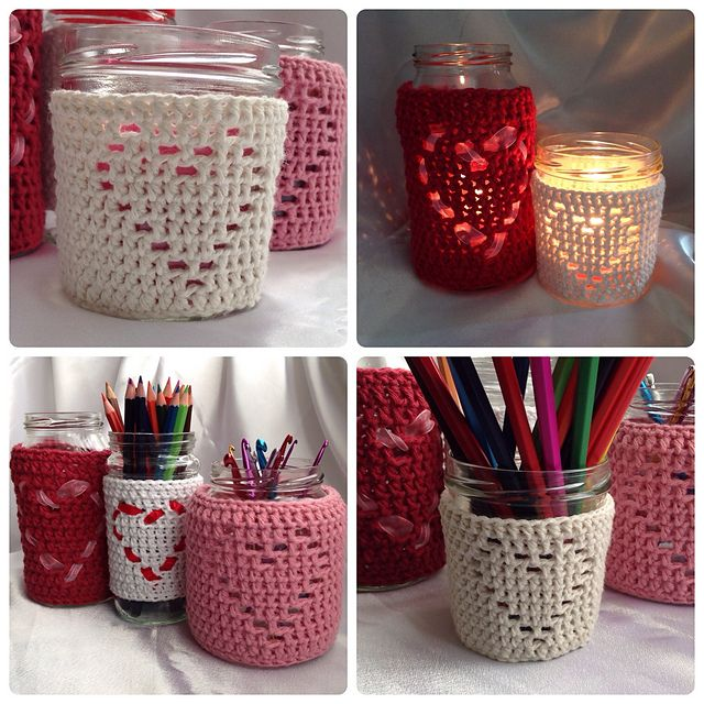 Ravelry: Heart Shape Jar Candle Cover pattern by Ling Ryan