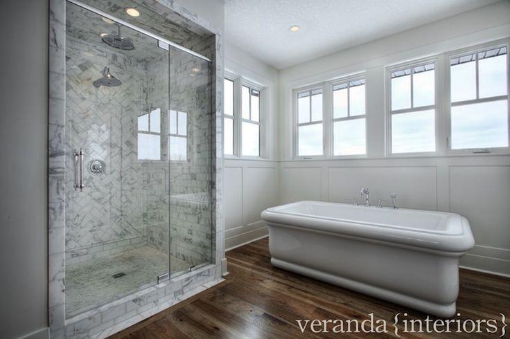 Veranda Interiors - bathrooms - freestanding bath, freestanding tub, freestanding bath tub, wainscoting, white wainscoting, paneled walls, p...