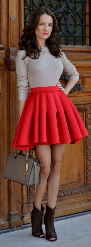 Red Pleated Mini A-skirt by My Silk Fairytale