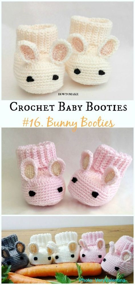 Bunny Booties Crochet Free Pattern – Baby #Booties; Free #Crochet; Patterns