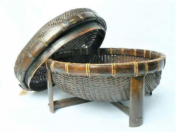 Grande redonda cesta de mimbre con tapa recipiente de