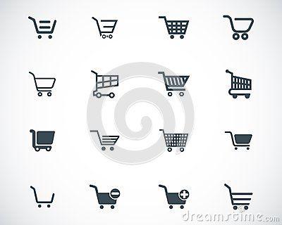 Vector black  shopping cart  icons