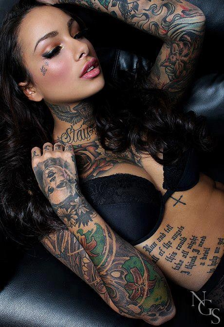 Sleeves, neck, chest tattoos