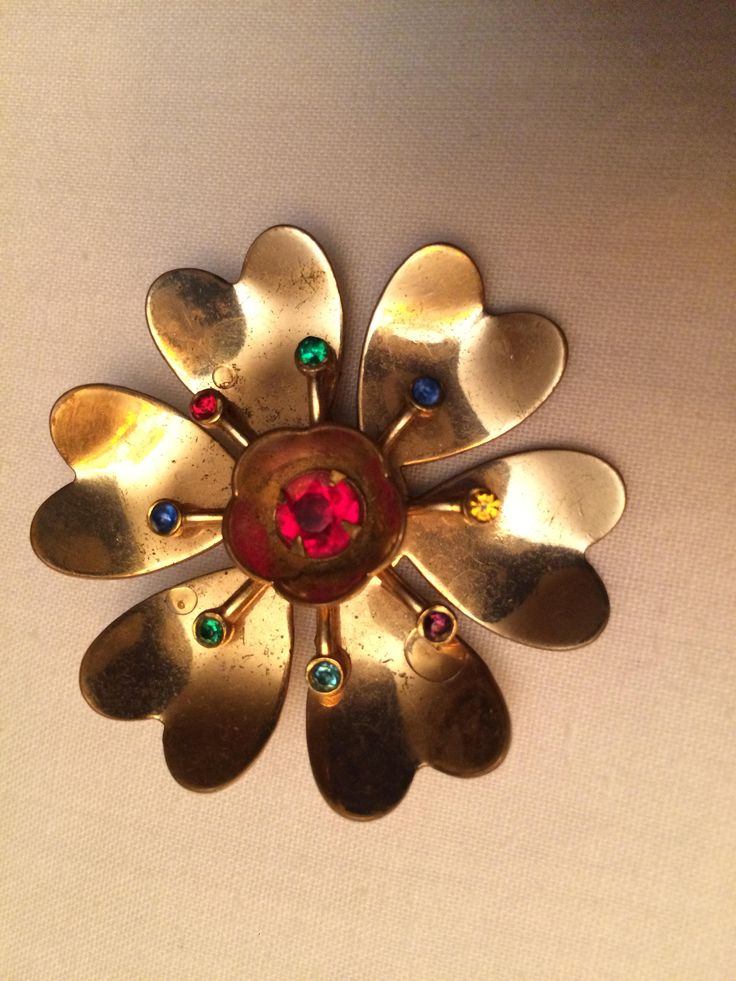 Excited to share the latest addition to my #etsy shop: Pretty as a Flower http://etsy.me/2zdQIpE #jewellery #brooch #gold #red #no #women #brass #gemstones #blue