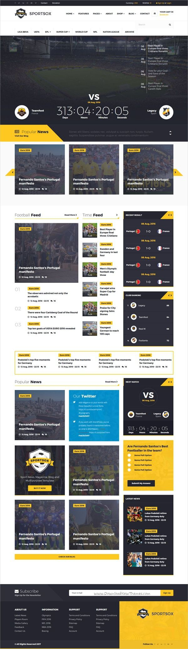 Bootstrap soccer template free theme : 2018