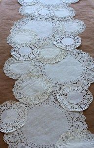 Doily table runner. Alice in Wonderland Tea Party Sources | Halfpint Design