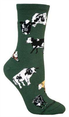 Cows all over hunter green socks