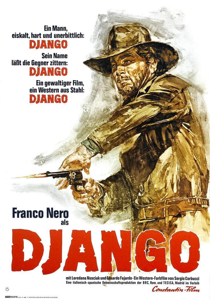 "The one the only ""Django"", a 1966 Spaghetti Western film directed by Sergio Corbucci and starring Franco Nero in the eponymous role. The film earned a reputation as being one of the most violent films ever made up to that point and was subsequently refused a certificate in the UK until 1993, when it was eventually issued an 18 certificate. The film was downgraded to a 15 certificate in 2004. http://en.wikipedia.org/wiki/Django_(film)"