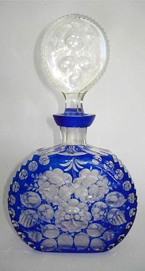 Antique Vintage Bohemian COBALT BLUE Glass Cut-to-Clear DECANTER Perfume Scent Bottle