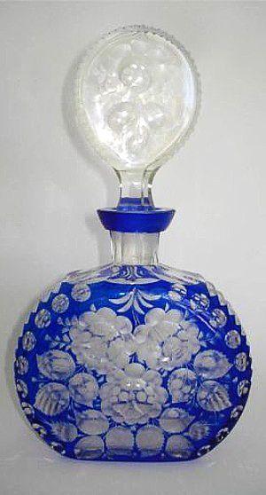 Antique Vintage Bohemian COBALT BLUE Glass Cut-to-Clear DECANTER Perfume Scent Bottle