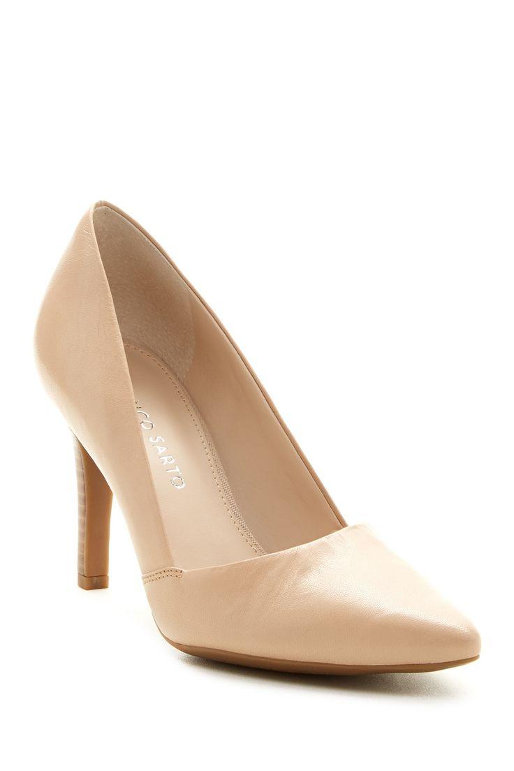 Womens Shoes Franco Sarto Amara Slip On Heels Pumps Black Leather Size 6W