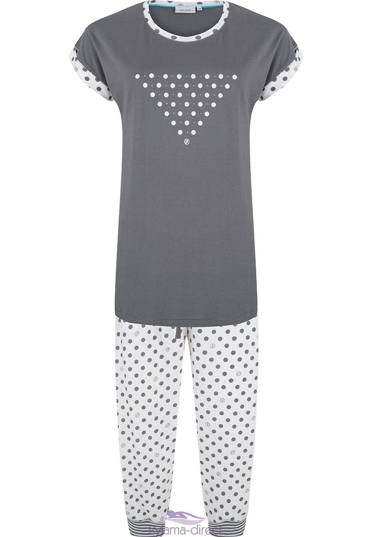 "A Pastunette fashionabe & fun ""dots & diamanté"" grey & white cotton pyjama with a modern triangular design and fun mixed trimmings"