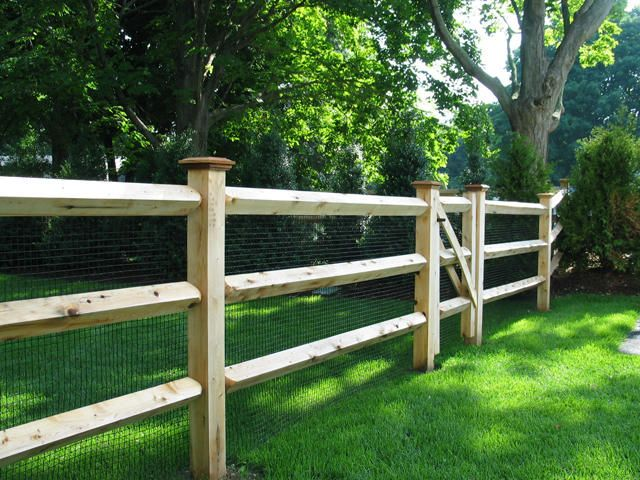 3 rail split rail fence with mesh - Google Search. This is the one!