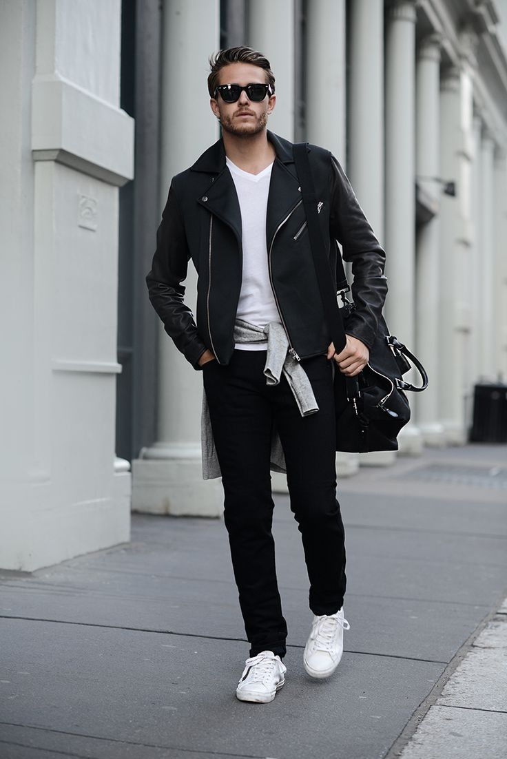 white trainers mens street style