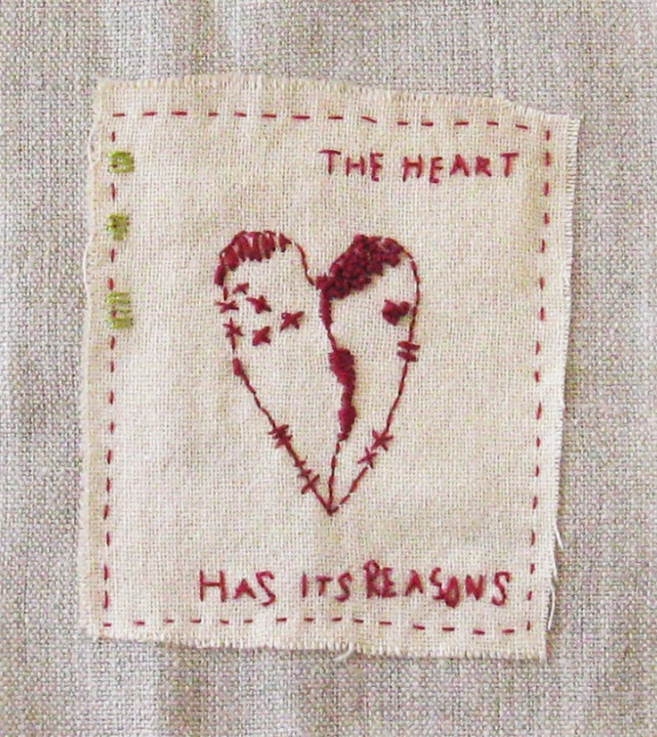 The Heart has its Reasons  Embroidered by hand on a piece of fine, hand-dyed wool fabric and heavy taupe linen. The design is mine and the piece is signed on the back.