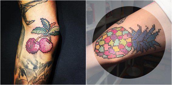 Tatuajes en punto de cruz - frutas