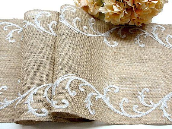 Burlap table runner wedding table runner romantic silver table decor , handmade in the USA