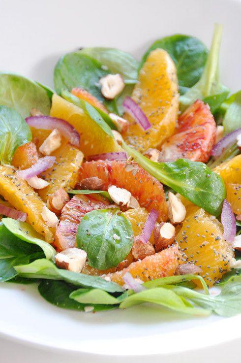 Salade de mâche, duo d'oranges et noisettes - la cuisine de Nathalie